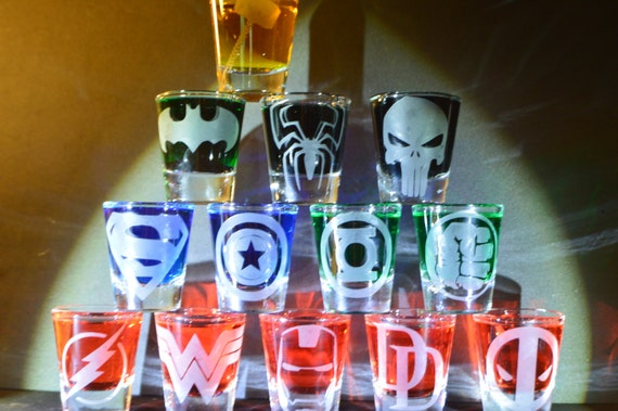 Super heroes etched shot glass set of 13 fan art