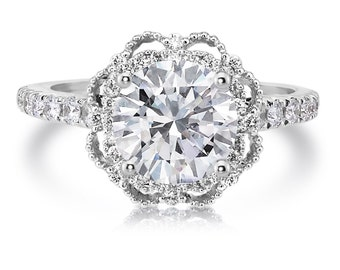 Forever One Moissanite & Genuine Diamond Engagement Ring Round 1.50ct Center .41tw Natural Round Diamonds 18k White Gold Aniversary Ring