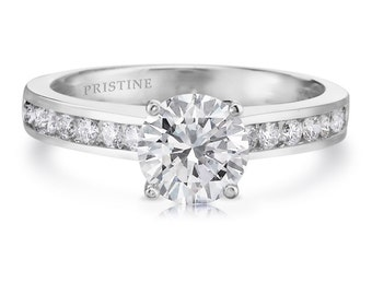 Moissanite Diamond Engagement Ring  1.0ct Round  Forever One  .34ct Diamonds Wedding Ring Platinum Anniversary Ring Pristine Custom Rings
