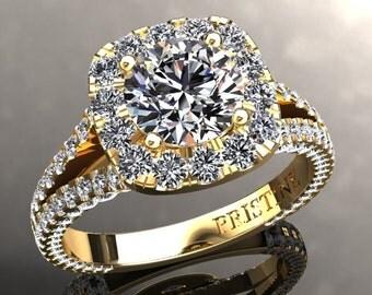 Forever one Moissanite Engagement Ring 1.0ct Forever One Moissanite 1.70ct Moissanite Accents Yellow Gold Anniversary pristine Custom Rings