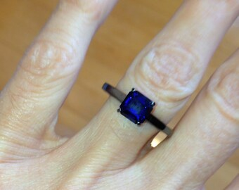 Engagement Ring BLOOMED LOVE Collection Princess Cut VVS Blue Sapphire 1.25ct 14kt Gold Black Rhodium Engagement Ring Wedding Ring