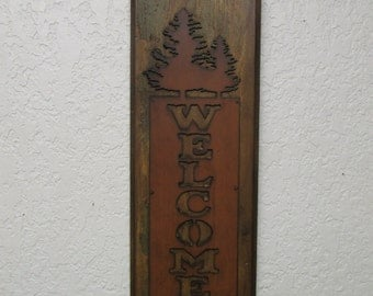 Welcome Pine Trees Panel-Mexican Folk Art-8 x 27 inches-Unique-Rustic-Reclaimed Re-Purposed-Wall-Pine Tree