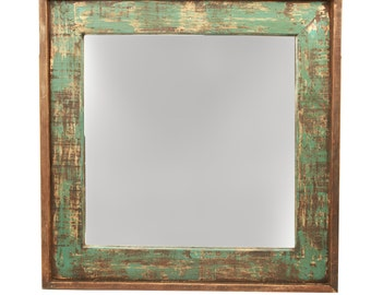 Ranch House Rustic Mirror-31x31 inches-Handmade-Wall Mirror-Spanish-Western-Turquoise-Vanity