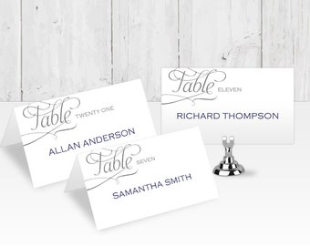 DIY| Place card templates| Wedding place cards| Printable| Editable color & Text| FEPC| T42