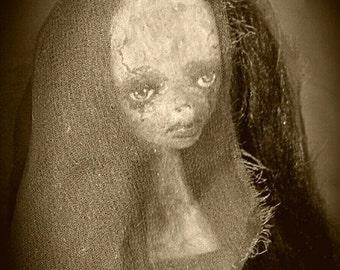 Marilyn Lane gothic doll, art doll, horror art doll, gothic art doll, human figure