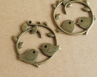 6 pcs 40x37mm Antique Bronze Brass Vintage style lovely two Birds with Branch Charm Pendant pendantshs ABb0015