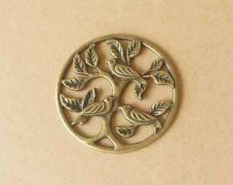 6 pcs 47mm Antique Bronze  Vintage style lovely  Birds with tree Charm connector Pendant ABb0017a
