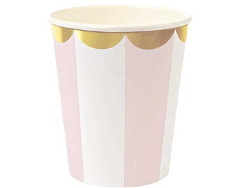 Meri Meri Blush Pink Paper Cups (8), Toot Sweet Pink & White Party Cups with Gold Scallop Edge, Blush Pink Decor, First Birthday Ideas