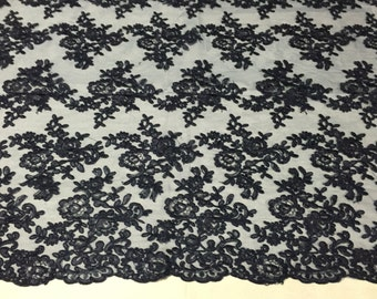 Navy blue modern roses embroider and corded on a mesh lace -yard