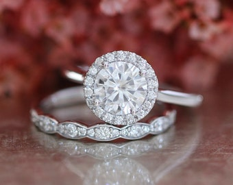 forever one moissanite engagement ring and scalloped diamond wedding band bridal set in 14k white gold