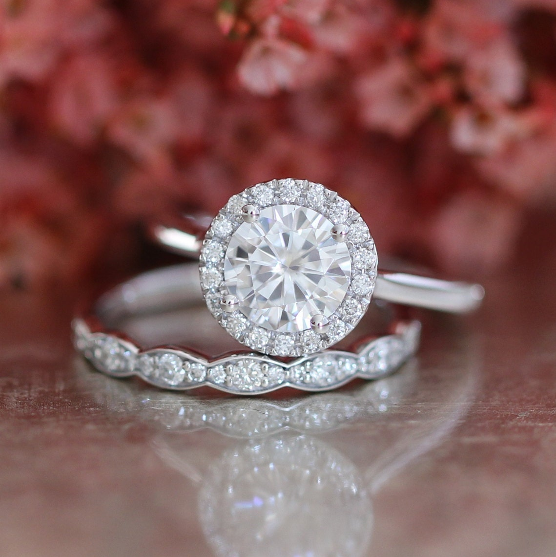 Forever one moissanite engagement ring and scalloped diamond for Halo engagement rings with wedding bands