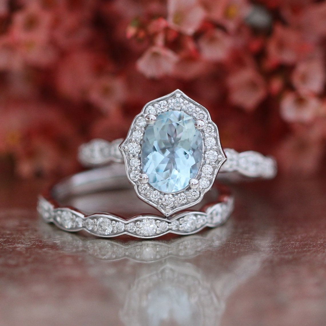 Bridal Set Vintage Floral Oval Aquamarine Engagement Ring And