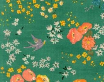 En Garden in Emerald by Nani Iro Double Gauze by the HY