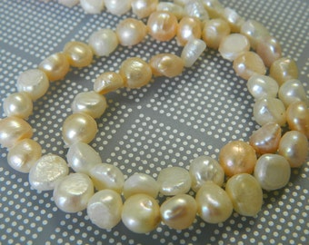 Cultured Freshwater Flat Sided Potato Pearl Beads - Multi-Colored Potato Pearl Beads - 15 Inch Pearl Bead Strand