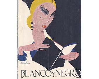 1929 Blanco Y Negro Magazine Cover, Lady Reading Book, Signed Print