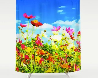 Shower Curtain Poppies Flowers Wildflowers Texas Poppy Abstract Art