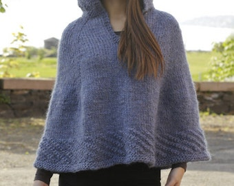 Knitted poncho, hand made poncho, wool poncho. CHOOSE YOUR COLOR!