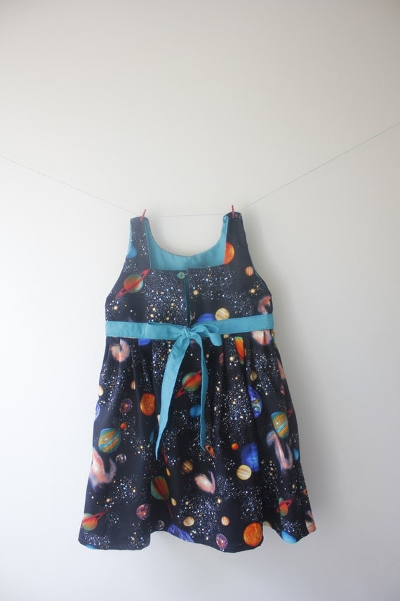 Planets dress outer space dress space outfit spcae party for Outer space fabric uk