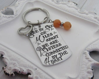 Sister keychain with bead and heart charm