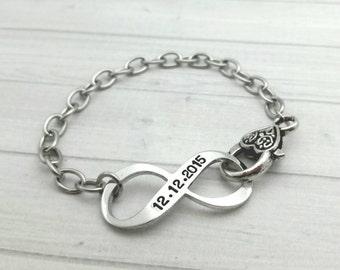 Hand stamped infinity bracelet, anniversary bracelet,  date bracelet,  date jewelry