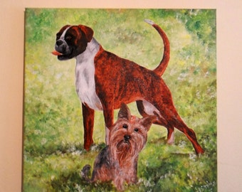 Custom Pet Portrait- Original Acrylic Painting MADE TO ORDER,custom size 18 x 18