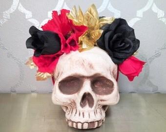 Red Black and Gold Flower Crown Flower Headband Frida Kahlo