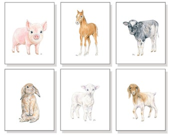 Farm Animal Nursery Decor Farm Nursery Prints. Country Nursery Art Barn Animal Farmyard Pig Piglet Cow Horse Goat Lamb Sheep Bunny Set of 6.