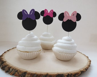 Set of 12 - Minnie Mouse Hot Pink, Pink, and Purple Cupcake Toppers
