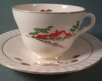 Vintage Tea Coffee Cup Figgjo Flint Norway Rooster and Cottage Scene    S803