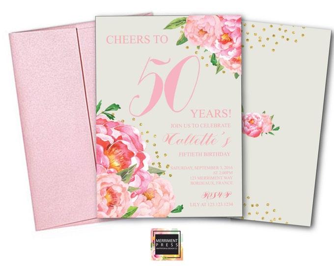 50th Birthday Invitation // Fiftieth Birthday Invitation // Pink / Grey // Flowers // Peony // Pink // Gold Glitter // BORDEAUX COLLECTION