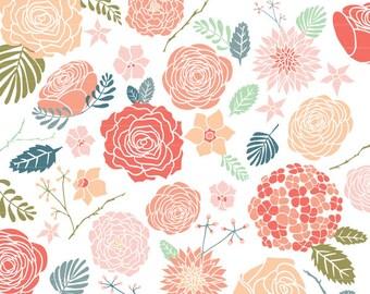 Peach Floral Clipart, Flower Clip Art Set, Floral Clip Art