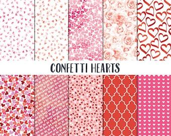 Valentine Digital Paper - Valentine Scrapbook Paper - Confetti Hearts