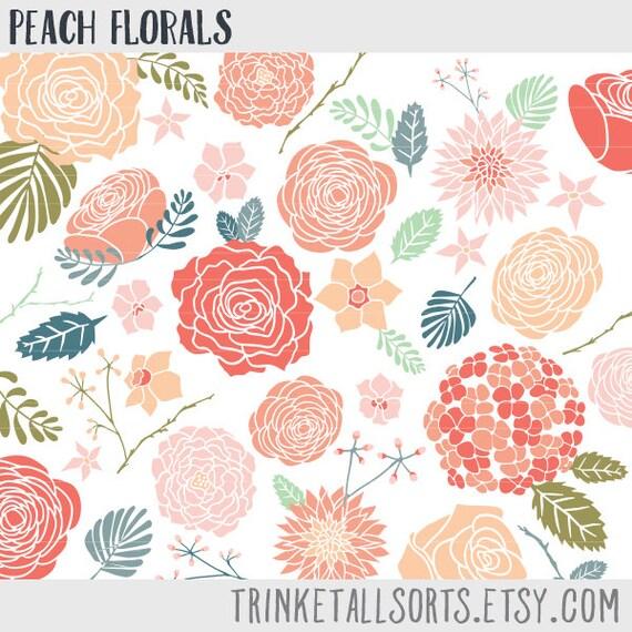 Peach Floral Clipart Flower Clip Art Set Floral Clip Art