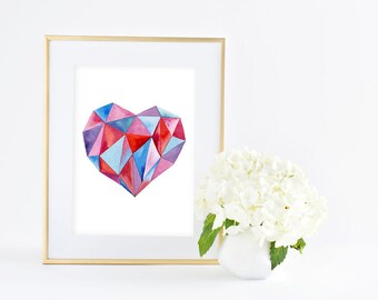 Geometric Heart - Giclee Art print - Watercolor Painting - Office & Home decor Wall Art - 8x10