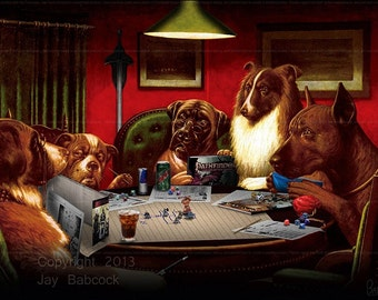 Dogs Playing D&D (Pathfinder version) - Full Color Poster