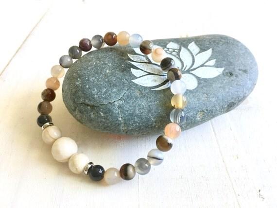 Rivers Stone Mala Bracelet, Botswana Agate Stretch Bracelet, Yoga Style Bracelet, Match Your Mala Bead Bracelet, Yoga Jewelry