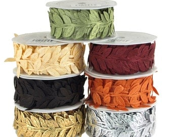 Leaf Garland Polyester Ribbon, 10-Yards