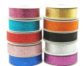 Nylon Metallic Glitter Ribbon, 7/8-inch, 25-yard