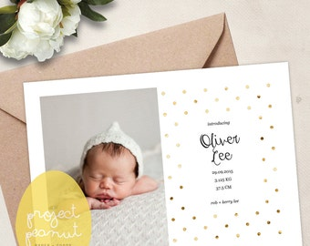 Personalised Baby Photo Birth Announcement Printable. Digital Birth Announcement. Personalised Photo Birth Announcement.