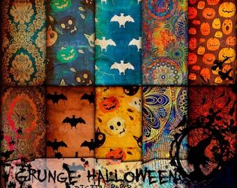Grunge Halloween Digital Paper download, halloween digital antique paper, vintage halloween paper, halloween grunge ephemera paper DG-MQ-04