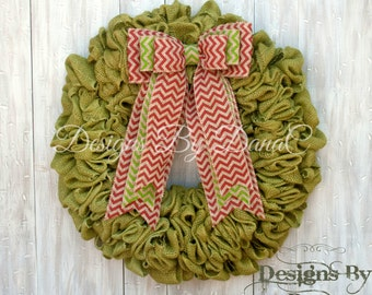 Traditional Christmas Wreath Burlap, Holiday Door Decor, Christmas Door Decorations, Green Christmas Wreath, Holiday Wreath, 19 or 22 inches
