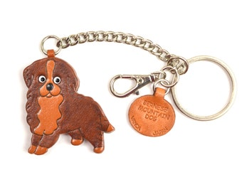 Bernese Mountain Dog 3D Leather Dog/Animal Ring /BagCharm Keychain Keyring key fob/Accessory *VANCA* Made in Japan #26057 Free Shipping