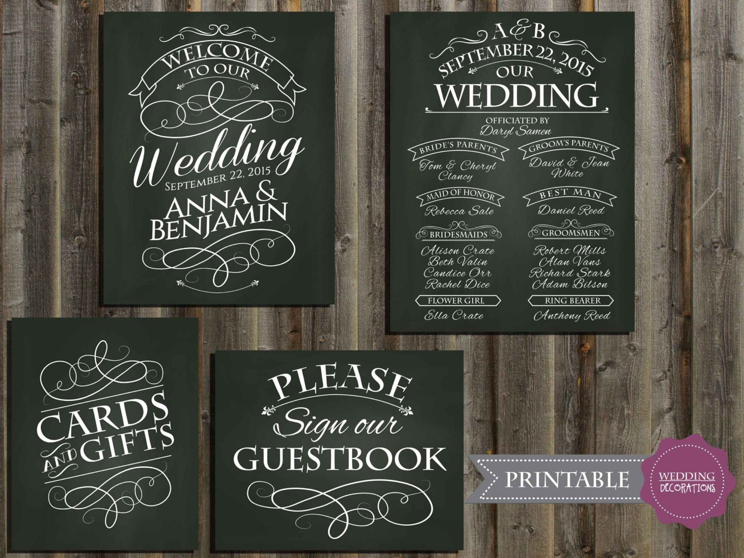 Chalkboard Wedding Signs Wedding Program Signs Guestbook
