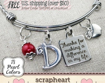 TEACHER Thank You Gift, Thanks For Making a Difference in My Life Bangle Bracelet, Custom Color Initial Gifts for Teachers, Apple Charm