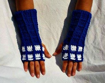 Dr. Who Tardis inspired fingerless gloves, ready to ship, The doctor, mens gloves, womens gloves, childrens gloves, police box dalek