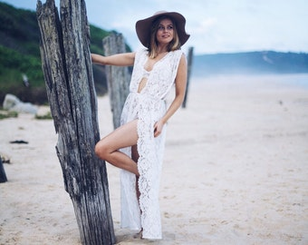 WILLOW Boho Floral White Bridal Lace Summer Beach Coverup
