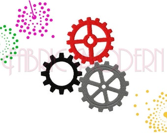 Embroidery Design,  Applique steampunk gears, #374