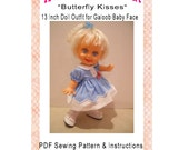 DoodleBugs Butterfly Kisses 13 Inch Galoob Baby Face Dress Set Sewing Pattern Digitial PDF Download
