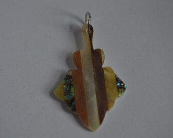 Vintage Mother of Pearl and Abalone Shell Intarsia Pendant (1060378)