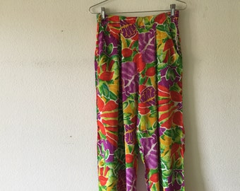 Vintage 1980s Women High Waist Pants, Elastic Waist Flower Pants, Made in India